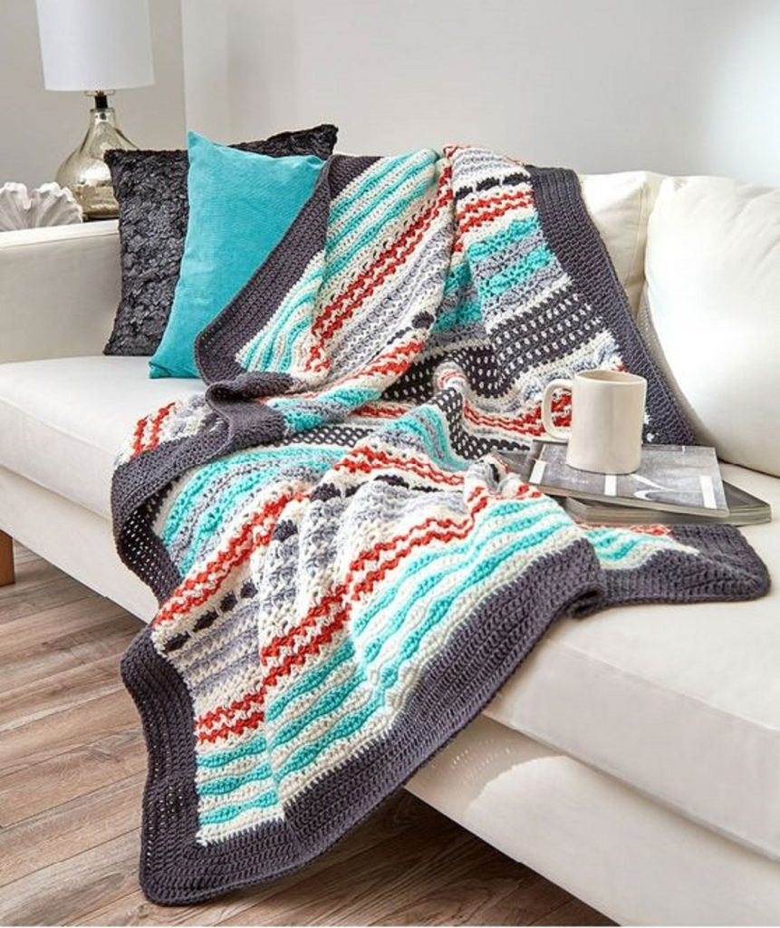 [Free Pattern] Beautiful Crochet Striped Throw To Make For Yourself Or As Gift!