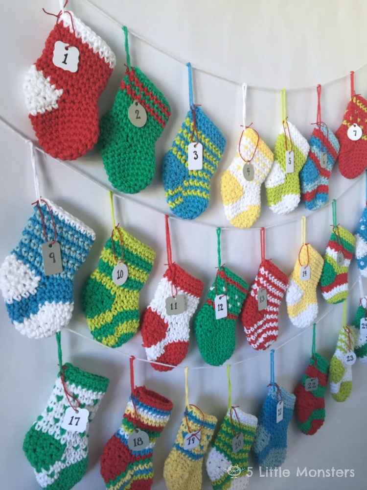 [Free Pattern] This Crocheted Stocking Advent Calendar Is A Delightful Way To Count Down The Days Until Christmas