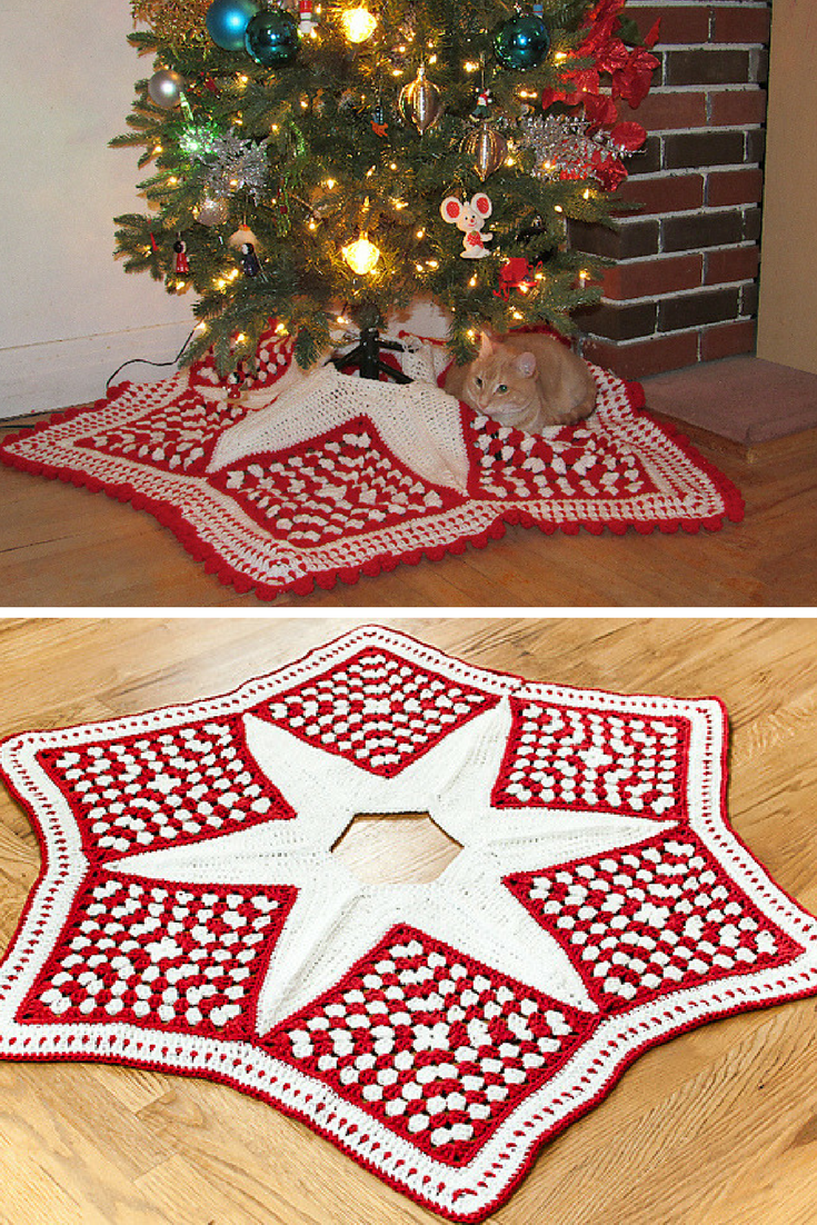 10+Crochet Christmas Tree Skirt Free Patterns