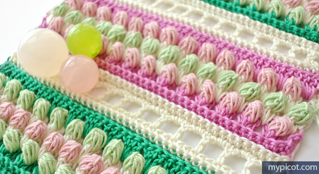 Learn A New Crochet Stitch: Multicolored Striped Buds Crochet Stitch