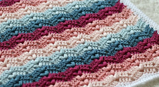 Free Pattern Fun And Beautiful Crochet Ripple Blanket With Bobbles