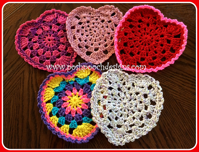 [Free Pattern] These Granny Style Heart Doilies Add A Sweet Touch To Your Table, Or Valentine Party