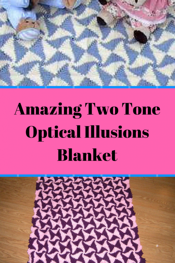 Free Pattern] Amazing Two Tone Optical Illusions Blanket - Knit And ...