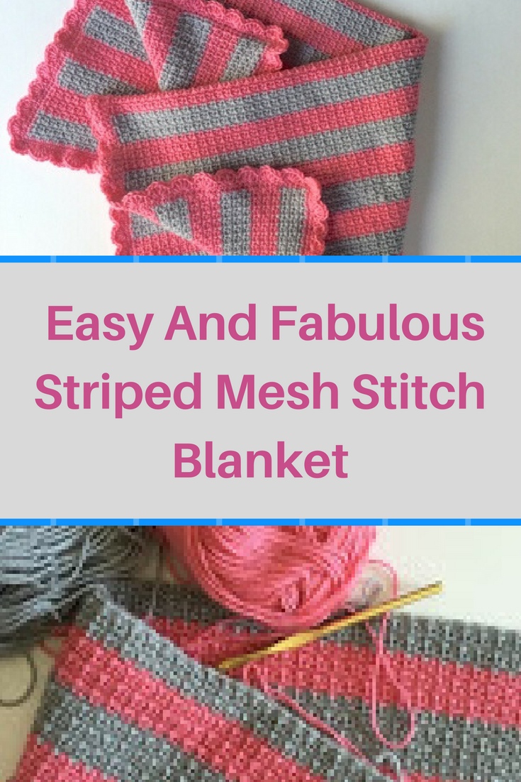 [Free Pattern] Easy And Fabulous Striped Mesh Stitch Blanket