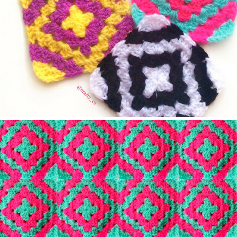 [Free Pattern] Modern Diamond Granny Square
