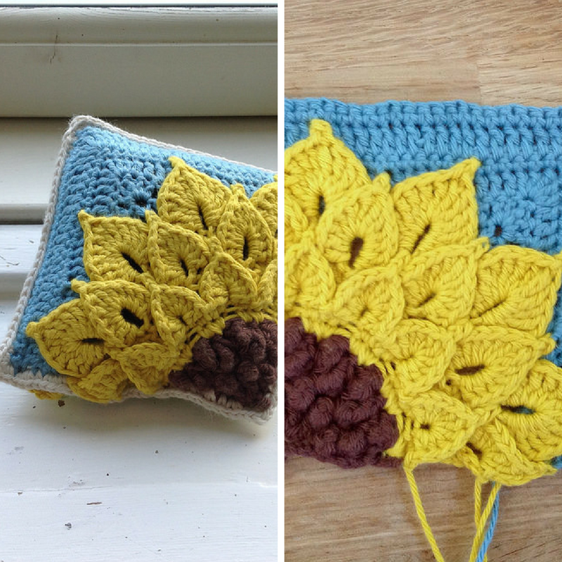 "[Free Pattern] This Original ""Quarter Sunflower Square"" Concept Is Amazing!"