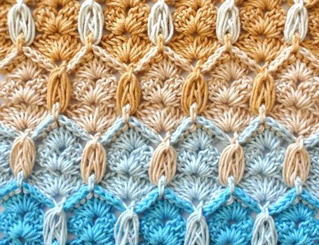 Learn A New Crochet Stitch Honeycomb And Shells Stitch Knit And