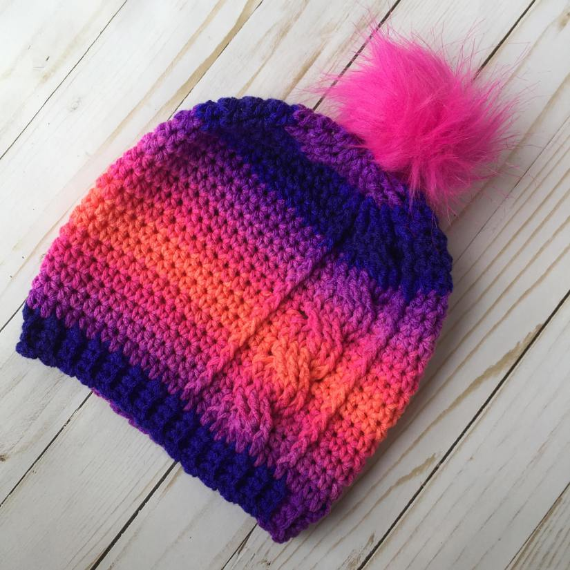 [Free Pattern] Super-Easy Memorable Cable Slouch Beanie