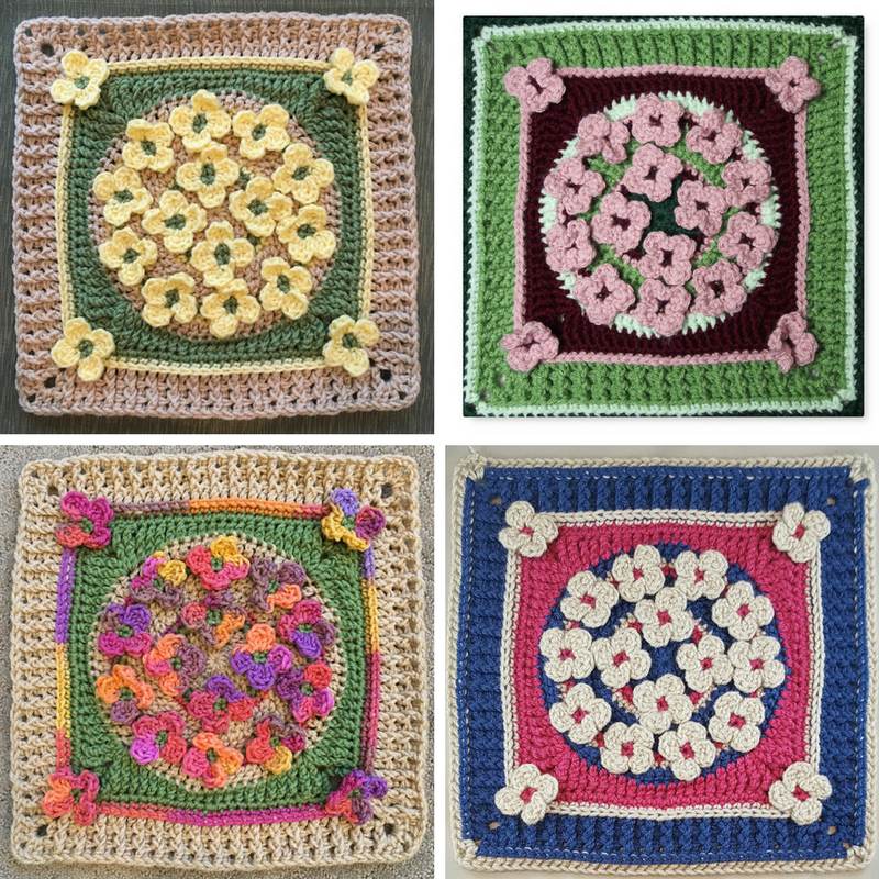 Incredibly Cute Winter Wildflowers Afghan Block Free Crochet Pattern