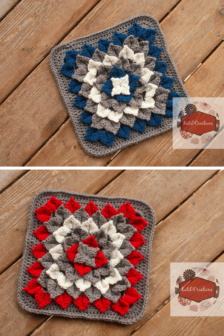 Isn't This Crocodile Stitch Flower Square Jaw-Dropping? [Free Pattern]