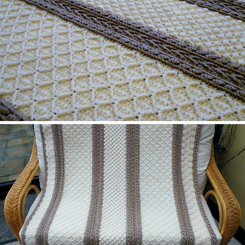 [Free Pattern] Spectacular Basketweave Diamond Throw With Matching Pillow To Add Textural Interest To Your Surroundings