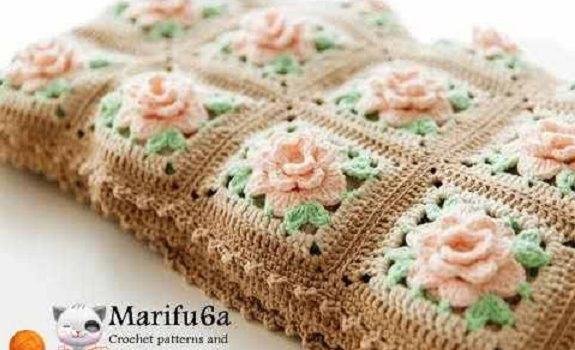 Beautiful Crochet Rose Granny Square Afghan Pattern People Love To