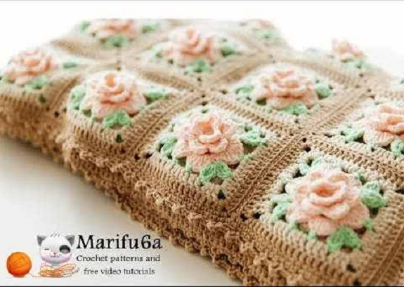 Beautiful Crochet Rose Granny Square Afghan Pattern People Love To ...