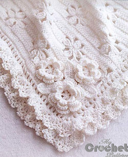 Darling Baby Blanket With Roses Free Crochet Pattern [Video Tutorial+ Free Pattern]