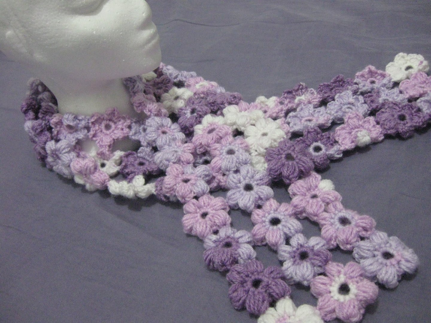 Gorgeous Scrap Yarn Puff Stitch Flower Scarf Pattern To Amp Up Your Glam [Free Pattern]