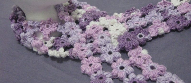 Gorgeous Scrap Yarn Puff Stitch Flower Scarf Pattern To Amp Up Your