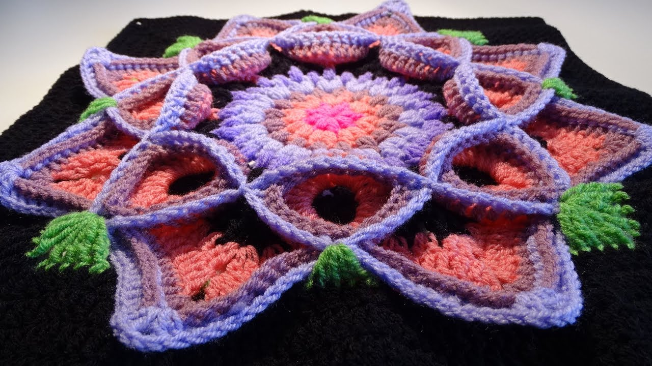Spectacular 3D Flower Granny Square Crochet Pattern [Video Tutorial ...