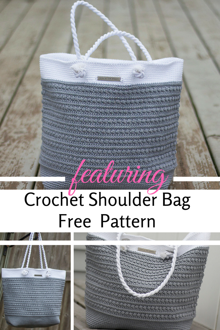 Crochet Shoulder Bag -To Carry Along Your Crochet Projects With Style [Free Pattern]