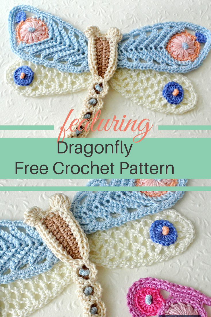 Delightful Crochet Dragonfly Applique Free Pattern