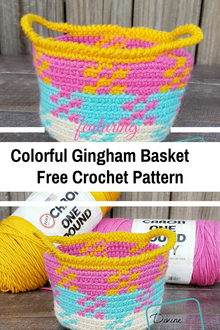Colorful Crochet Gingham Basket