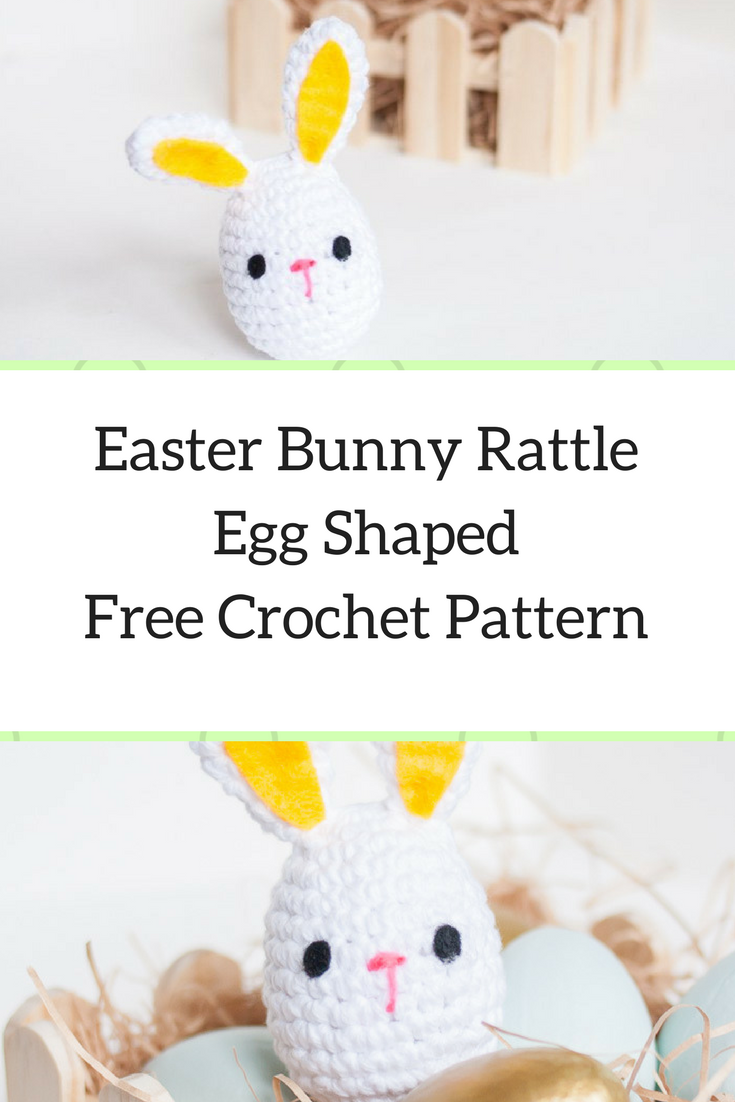 Cute Easter Bunny Rattle Egg Shaped- Free Crochet Pattern