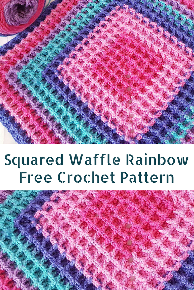 Free Pattern] Fabulously Easy Squared Waffle Rainbow - Knit And ...