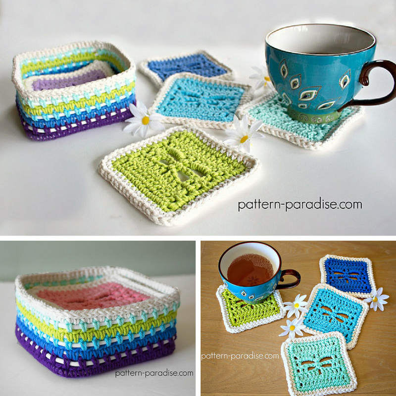 Dragonfly Coasters And Coasters Basket-Free Crochet Pattern