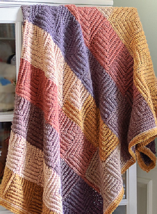 Brilliant No Sew Mitered Square Blanket Free Crochet