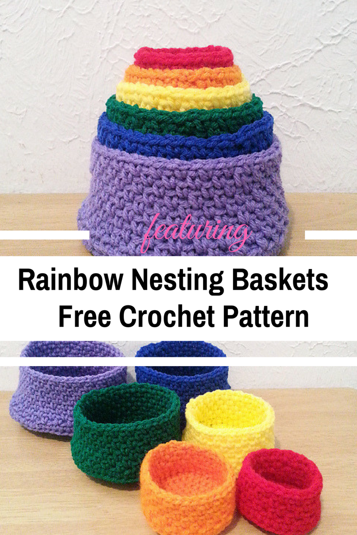 Set Of Six Rainbow Nesting Baskets Different Sizes Free Crochet Patterns