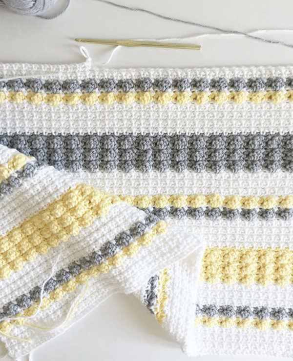 Crochet Gray And Yellow Bobble And Mesh Stitch Blanket For