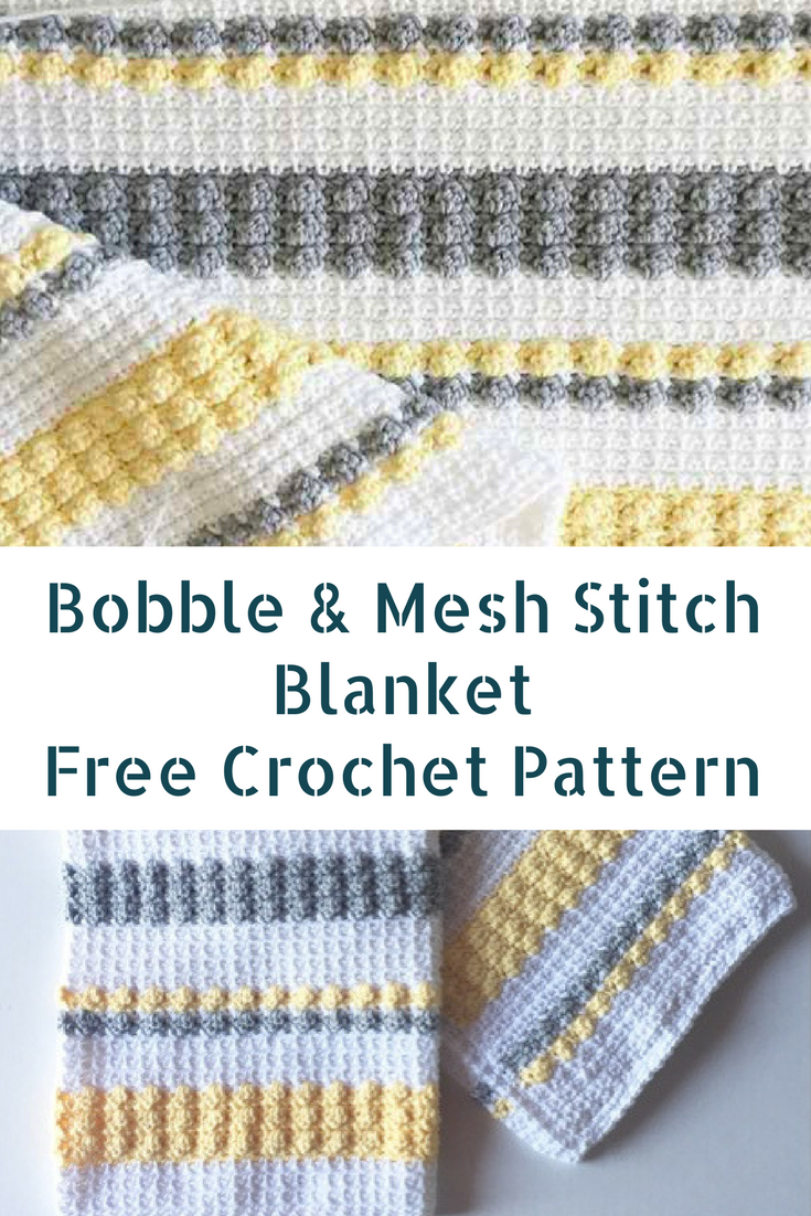 Crochet Gray And Yellow Bobble And Mesh Stitch Blanket For Happy Babies
