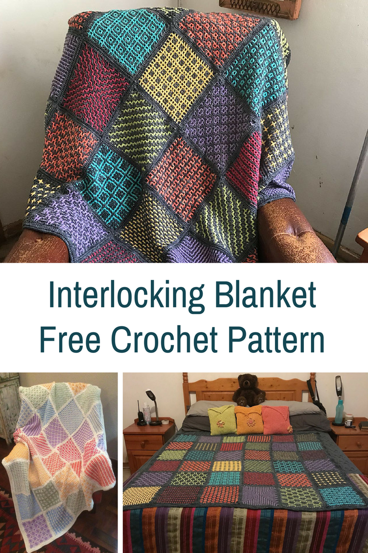 Simple Interlocking Crochet Blanket Pattern With Two