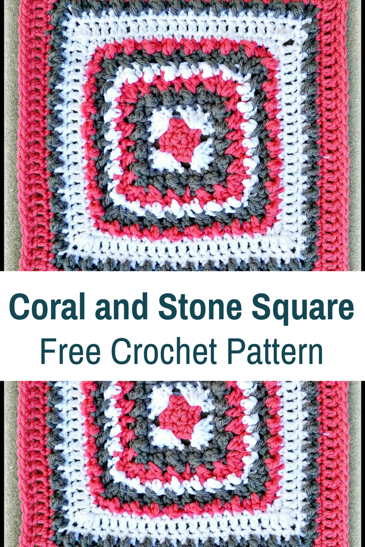 This Coral And Stone Afghan Block Is A Beauty!