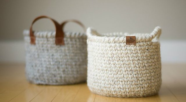 Waistcoat Stitch Crochet Basket With Handles Free Pattern Knit And