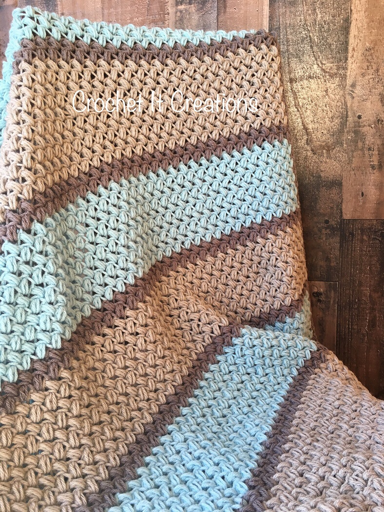 Easy Bean Stitch Crochet Blanket Free Pattern Knit And