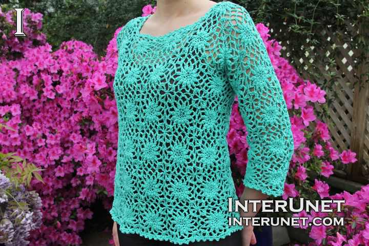 How To Crochet A Women's Square Motif Lace Blouse