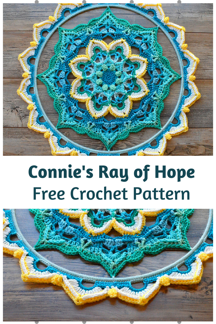Connie's Ray of Hope Is An Amazing Crochet Mandala Wall Hanging Free Pattern
