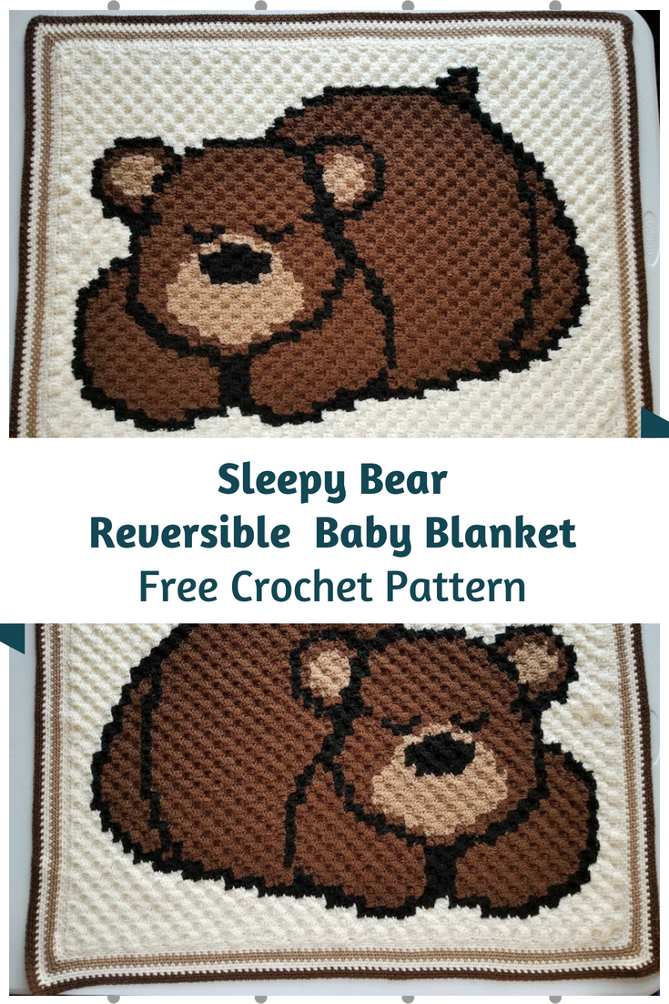 Sleepy Bear Reversible Baby Blanket Free Pattern