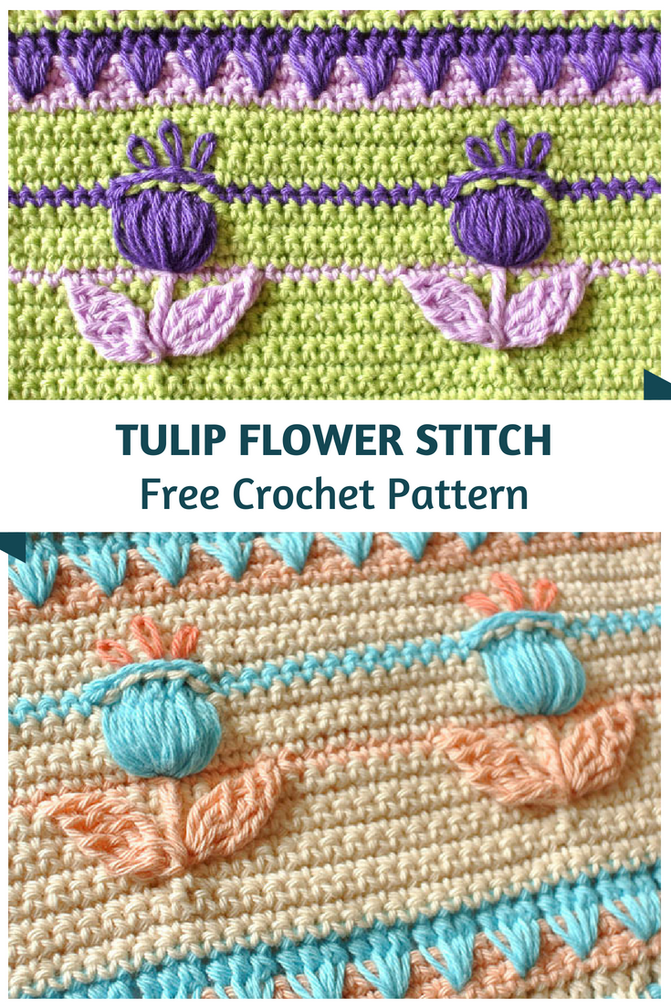 Learn A New Crochet Stitch: Crochet Tulip Flower Stitch
