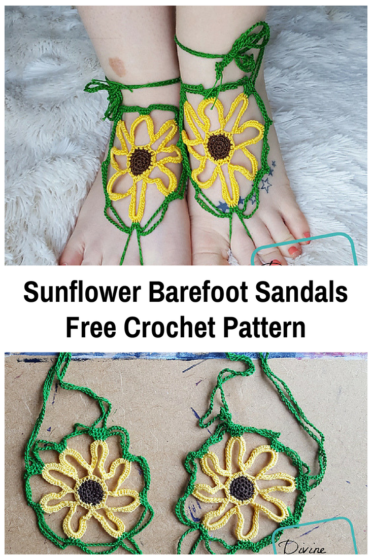 Sunflower Barefoot Sandals Free Crochet Pattern