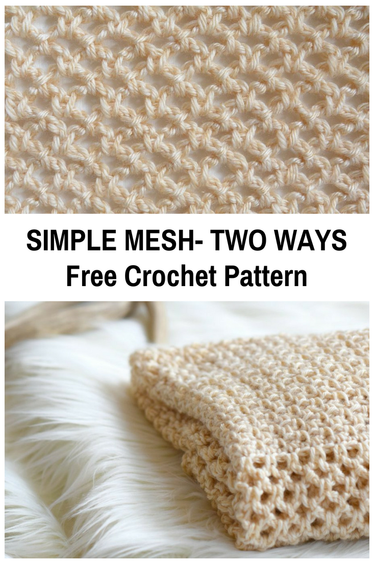 Simple Mesh Crochet Stitch Pattern-Two Ways