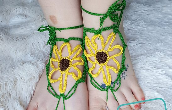 Sunflower Barefoot Sandals Free Crochet Pattern Knit And Crochet Daily