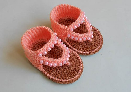 Adorable Crochet Baby Sandals With Beads Free Pattern Knit And