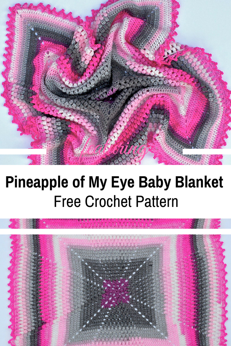 Bright And Happy Pineapple Stitch Crochet Baby Blanket [Free Pattern]