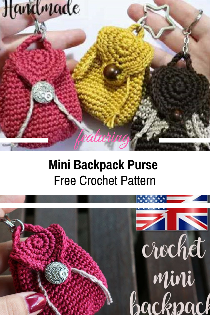 Crochet Mini Backpack Purse Free Pattern