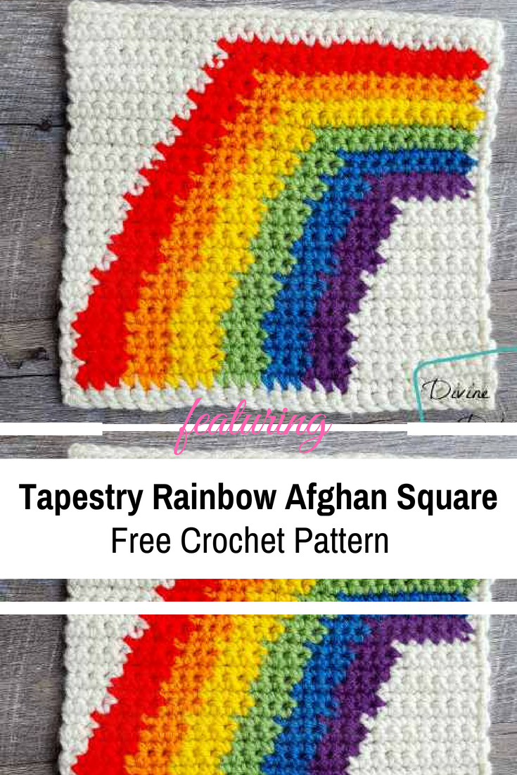 "8"" Tapestry Rainbow Afghan Square With A Bright And Joyful Design"