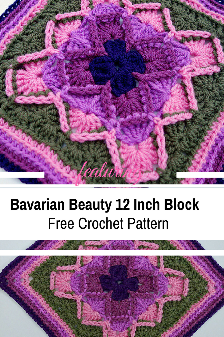 Beautifully Textured Bavarian Beauty 12 Inch Block- Free Crochet Pattern