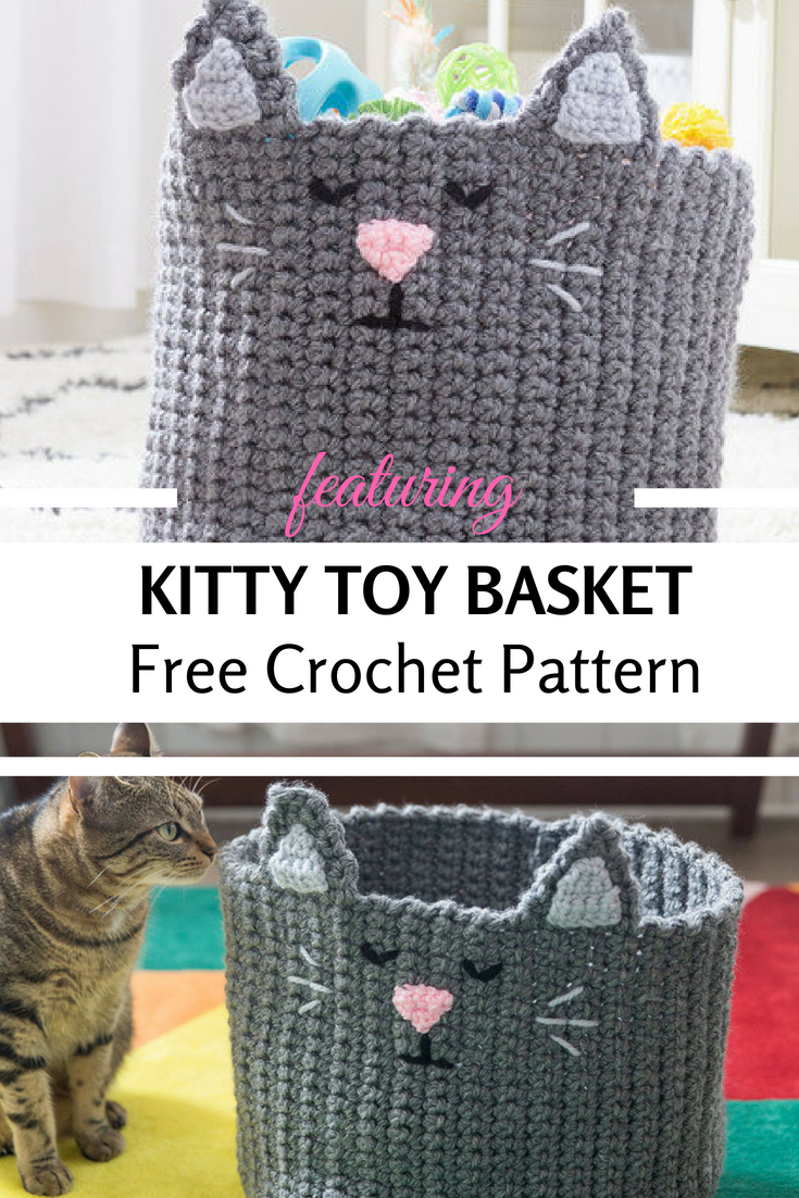 This Cute Kitty Crochet Basket For Toys Will Delight Your Little Ones