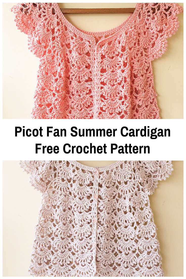 Picot Fan Summer Cardigan Free Crochet Pattern