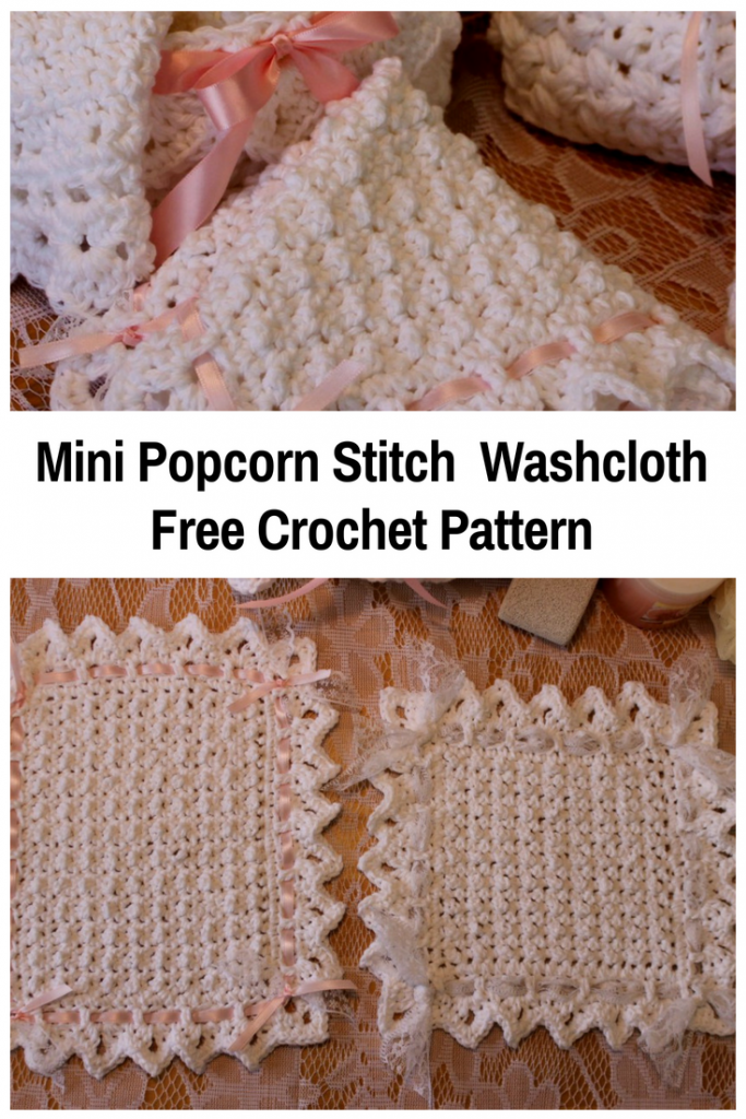 Easy Mini Popcorn Stitch Crochet Washcloth With Lace Edging [Free Pattern]